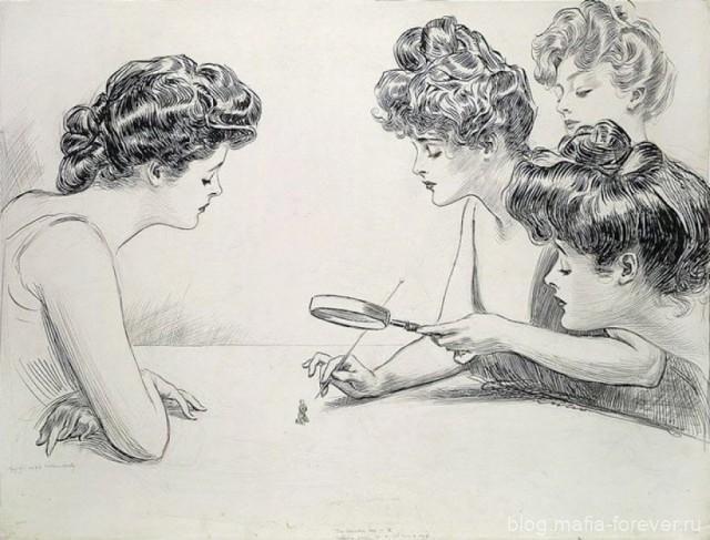 Оригинальный рисунок пером и чернилами, иллюстратор Чарльз Дана Гибсон.