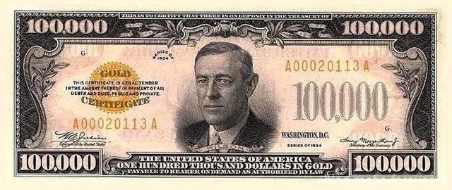 Банкнота номиналом 100 тысяч долларов с портретом Вильсона